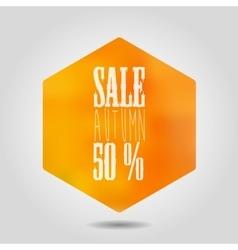 autumn sale icon in hexagonal shape vector image