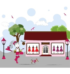 Cartoon of Woman window shopping with dog vector image vector image