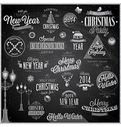 christmas emblems2 chalk vector image
