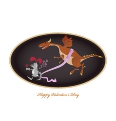Funny picture with knight and dragon Valentine vector image vector image