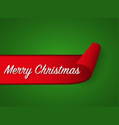 red curled paper ribbon and merry christmas vector image vector image