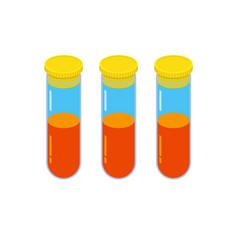 Three glass vials with orange fluid vector