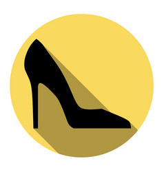 Woman shoe sign flat black icon with flat vector