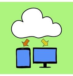 Cartoon style cloud computing vector image vector image