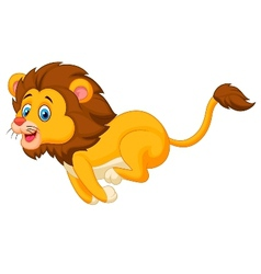 Cute lion cartoon running vector image vector image