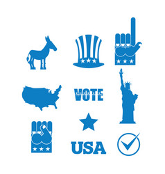 democrat donkey election icon set symbols of vector image vector image