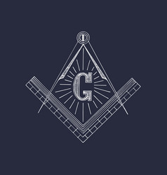 masonic square and compass symbols hand drawn vector image