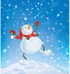 snowman happy snowfall vector image