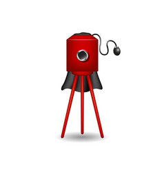 vintage camera in red design with shadow vector image vector image