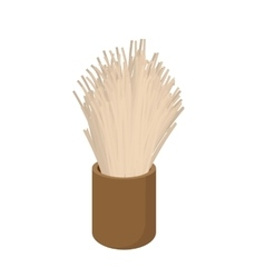Wooden shaving brush cartoon icon vector image vector image