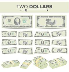 2 dollars banknote cartoon us currency vector