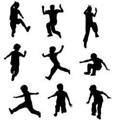 Children jumping vector image