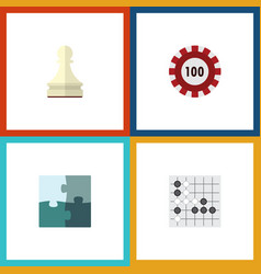 flat icon entertainment set of jigsaw gomoku vector image vector image