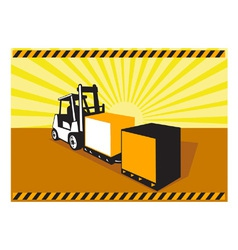 Forklift Truck Materials Handling Retro vector image vector image