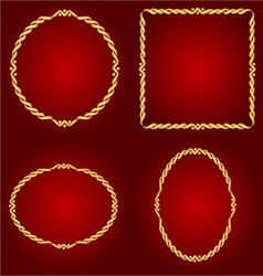 Gold frames Circle oval and square vector image