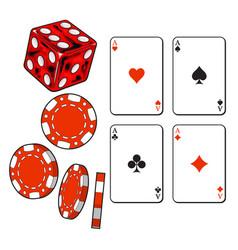 heart spade clubs diamond ace cards dice and vector image