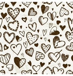 Seamless pattern with valentine hearts sketch vector image vector image