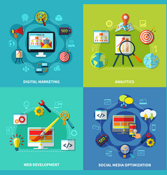 seo square compositions set vector image vector image