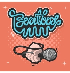 Beatbox Lettering A Hand With A Mic Microphone vector image vector image