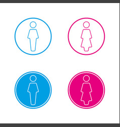 blue and pink round wc symbols man and woman vector image vector image
