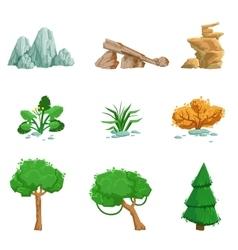 Landscape Natural Elements Set Of Detailed Icons vector image vector image