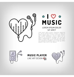 Music player isolated icon I love music vector image vector image