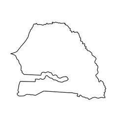 senegal map of black contour curves on white vector image vector image