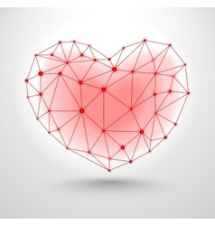 Shiny heart symbol with connections for Valentines vector image