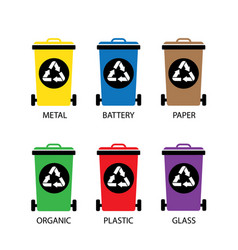 trash categories recycle garbage bin vector image