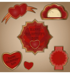 vintage love labels set for valentines day - vector image vector image