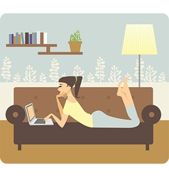Woman working at home vector image vector image