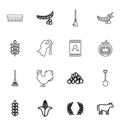 16 agriculture icons vector image
