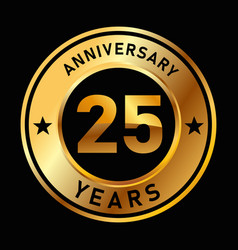 25 years anniversary medal gold golden circle vector