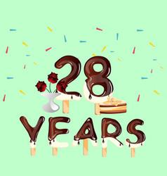 28 years anniversary celebration birthday card vector image