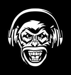 Angry monkey head in headphones vector