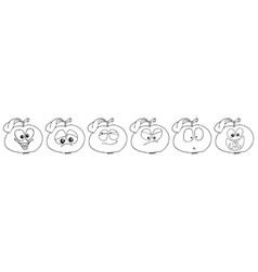 Apple set of funny smiles collect fruits and food vector