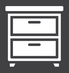Bedside table solid icon furniture and interior vector