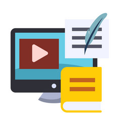 Blended learning flat color icon vector