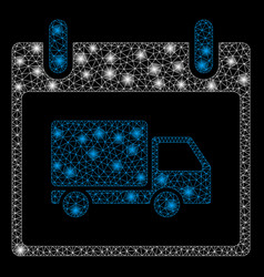 bright mesh carcass delivery car calendar day with vector image