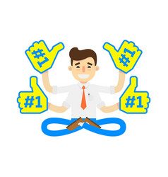 Businessman in lotus pose icon vector