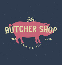 butcher shop and butchery hand written lettering vector image