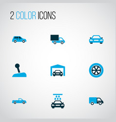 car icons colored set with truck transport vector image