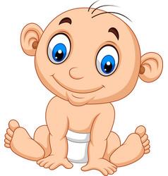 cartoon baby boy sitting vector image