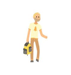cartoon man traveler with bag hitchhiker man vector image