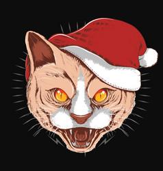 Cat angry face with christmas santa claus hat vector