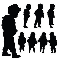 children set black silhouette vector image