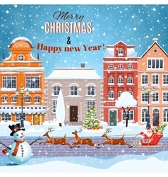 Christmas Santa Claus riding on sleigh vector image