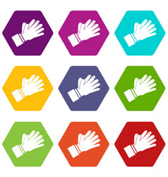 clapping applauding hands icon set color vector image