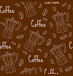 Coffee seamless pattern with coffee maker cafe vector