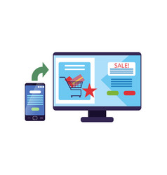 Computer monitor with internet store on screen vector
